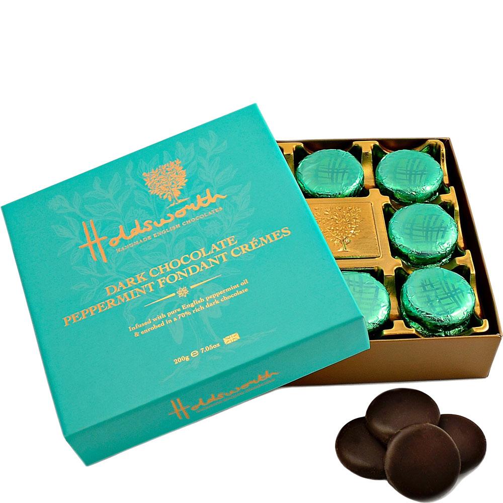 Holdsworth Chocolates Handmade Dark Chocolate Peppermint Fondant Crèmes - Happy Box London